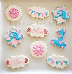 Vintage Garden First birthday cookies - Kookie Kreations by Kim