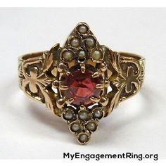 antique victorian 14k rose gold Garnet ring - My Engagement Ring