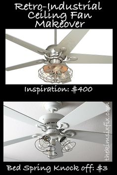 Ceiling fan makeover with $3 of vintage springs