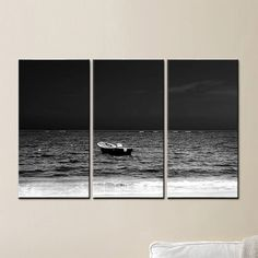 """Float Forever"" Fishing Boat, Giclee on Canvas, Ocean, Storm, Black and White, Triptych by Joelle Joy"