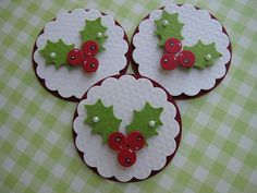 Christmas Holly Berry Embellishments
