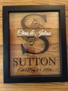 Custom Monogram Split Letter Floating Frame 8x10 Personalized Makes a Great Anniversary and Wedding Gift You will receive a 8x10 Black Floating Frame with a Split Letter ,2 names in the middle and Est. on the bottom just as shown in the photo. You can customize the colors and pick your 2 c...