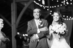 Silver & Lace vintage barn wedding.  photo by The Tarnos, Bride & Father down the aisle