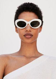 Acetate frame sunglasses in white.