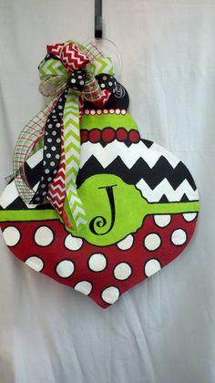 Burlap Classy Fun Monogrammed Christmas Ornament Burlap Polka Dot Chevron Door Wall Hanger Handpainted Wreath