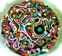 Freeform crochet rug.