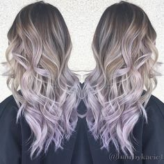 "Kacie Nguyen on Instagram: ""We came a long way.. 3 balayage and 1 babylight later. Silver ash and lilac tips! She's super brave to let me put a hint of lilac on her hair 😆 Love you! @spiggy Tone&Style by @hairbypkilla #hairbykacie #balayage #ombre #Babylights #asianhair #handpainting #silver #ash #blondehairdontcare #teamkacie #lilac #PURPLE #bayarea #fanola"""