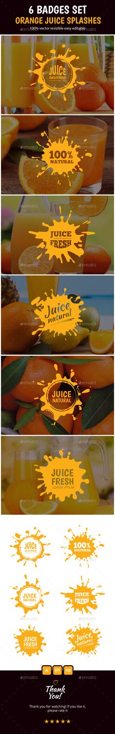Juice Splashes Badges Set by Multigon Hello! I present to you new set from 6 badges of juice splashes with all editable text and colors. All shapes in vector and resiza Juice Logo, Badge Logo, Menu Design, Cool Websites, Logo Templates, Fresh Fruit, Wordpress Theme, Shapes, Graphic Design