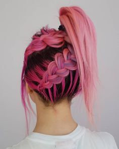 Loving this pink + purple underbraided updo by @hair_pavlova- try our Venus Pack for pink perfection! #lunartides #pinkhair #pastelhair