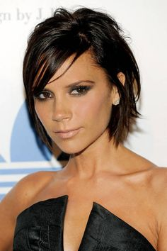 Famous Fashion-Designer,Mommy To Brooklyn Addams-Beckham,Pop-Star,Former Posh Spice Girl-Group Pop Music Member,Singer Victoria Addams-Beckham Wearing Her Black-Oh-so-posh-graduated-bobbed Hairdo.