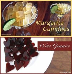Here is two fantastic recipes for homemade gummies for adults. Gummy Wine Hearts and Margarita Gummies.