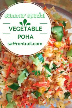 A summer special, vegetable poha upma, has your favourite vegetables sautéed along with poha and a healthy dose of raw veggies to top it.  A filling breakfast that doesn't weigh you down!