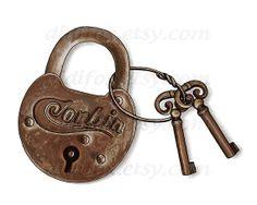 Rusty Metal Vintage  Lock with Keys  Printable Digital by DidiFox, $4.50