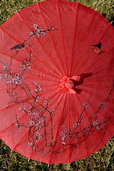 """Paper Parasols   32"""" Red Cherry Blossom & Bird Parasols    $6 each / 3 for $5.50 each"""