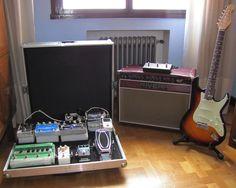Pedalboard with case. Rivera amp & Don Grosh Retro Classic Guitar