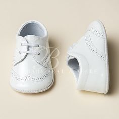 White On White Patent Boys Shoes | Christening/Baptism Collection - Designer Gowns & Shoes