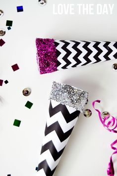 How to: Buy a cheap party horn, then wrap in this printable + glitter to make it gorgeous