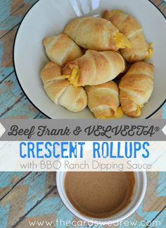 Beef Frank and Veleeta Crescent Rollups with BBQ Ranch Dipping Sauce from The Cards We Drew