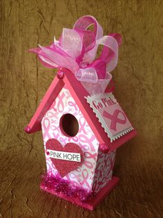 BREAST CANCER Awareness Unique Wood by BirdhouseGiftGallery, $15.00 Breast Cancer Fundraiser, Breast Cancer Survivor, Breast Cancer Awareness, Pink Ribbon Crafts, Crafts To Sell, Diy Crafts, Remembering Mom, Birdhouse Designs, Auction Ideas