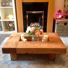 oak sleeper table, coffee table, oak coffee table