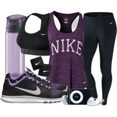 Fitness Gyms Outfits : Purple Black NIKE Fitness Gear w/ iPod and Water Bottle… Sport Fashion, Look Fashion, Fitness Fashion, Teen Fashion, Fitness Outfits, Fitness Gear, Gym Fashion, Fitness Depot, Fitness Style