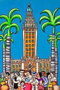 """El Refugio (by Tony Mendoza ©2008) - the refuge, is the name that Cuban émigrés fondly gave to Miamis Freedom Tower. Here at the """"Southern Ellis Island"""" newly arrived immigrants bravely lined up for processing into the new country. (Miami, Florida)"""