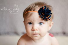 Auburn, Chicago Bears, Denver Broncos Flower headband, Photo Prop with shabby chic flower on skinny elastic on Etsy, $5.00