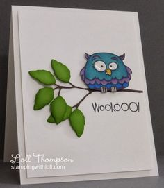 card by Loll Thompson.... cute owl with shiny eyes!