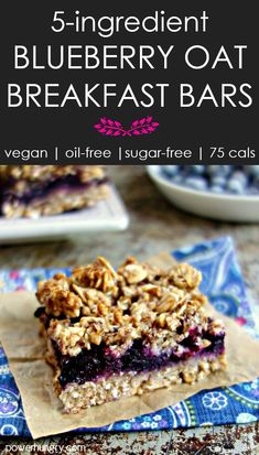 5 ingredient Blueberry Oat Breakfast Bars {vegan, sugar-free, oil-free, gluten-free} – Famous Last Words Blueberry Oatmeal Bars, Vegan Oatmeal, Blueberry Quinoa Breakfast Bars, Vegan Baking, Healthy Baking, Oats Recipes, Whole Food Recipes, Recipies, Desserts Sains