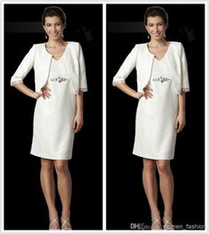 Discount 2015 New Fashion Chiffon Dress Mother of The Bride Dress With Jacket Half Sleeve Wedding Party Simple Cheap Knee Length Plus Size Dress N30 Online with $103.67/Piece   DHgate