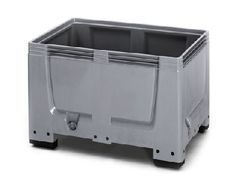 The Big Boxes are made of a robust, scratch-resistant plastic material. Smooth inner and outer walls ensure easy cleaning.    Standardized dimensions (Euro 1,200 x 800 mm or ISO 1,200 x 1,000 mm) ensure smooth operation in storage and transport processes.    Also stackable with lid  Superimposed load 4 tonnes  ISO and EURO dimensions  availabe with feet, skids or wheels      Price : £106.28    Weight: 31.00 kg