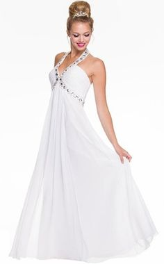 White Empire Silhouette Formal Dress Jeweled V Neck Ruched Bodice