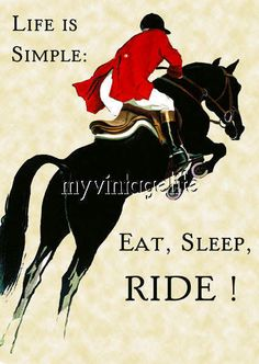 Equestrian Life is Simple Eat Sleep Ride Horse Back Riding Fabric Block
