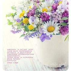 Kesäkukkakimppu Finnish Words, Music Quotes, Wise Words, Flowers, Cards, Photography, Inspiration, Hilarious Stuff, Finland