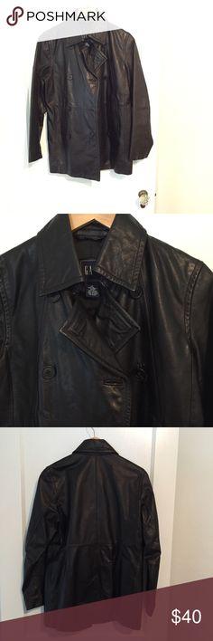 Selling this Gap leather Pea coat black lined sz small on Poshmark! My username is: sallyjgoodrich. #shopmycloset #poshmark #fashion #shopping #style #forsale #GAP #Jackets & Blazers