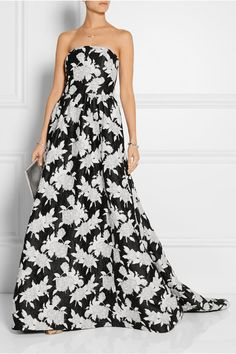 Oscar de la Renta | Floral-embroidered satin gown | NET-A-PORTER.COM