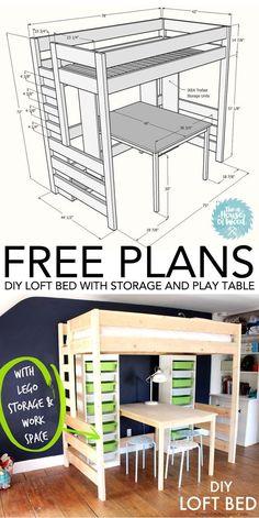 Wie man ein Hochbett mit Lager- und Spieltisch baut #diy #loft #bed #children # ... #children #hochbett #lager #spieltisch