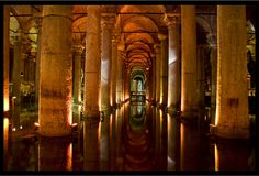 The Basilica Cistern, is the largest of several hundred ancient cisterns that lie beneath the city of Istanbul