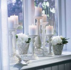 Pretty display ~ birch & lily for the living room window sill Bathroom Window Sill Ideas, Window Ledge Decor, Kitchen Window Sill, Bathroom Windows, Window Lights, Window Decorating, Decorating Ideas, Window Ideas, Decor Ideas