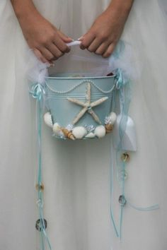 for sam Cuuute idea for bri: Beach Wedding Flower Girl Starfish Beach Pail by artseero on Etsy. But Definitely looks easy enough for a DIY! If we have a beach wedding Beach Wedding Reception, Beach Wedding Favors, Nautical Wedding, Destination Wedding, Wedding Planning, Beach Weddings, Beach Ceremony, Seaside Wedding, Sea Wedding Theme