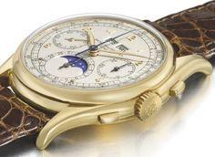 Patek Philippe 527 fabricado em 1943 e vendido em 2010 na Christie's Exemplar único, com um conjunto de três complicações inédito à data da sua criação. É, até à data, o Patek Philippe em ouro dourado mais caro do mundo. Preço: 5.708.885 dólares (4.440.000 euros)