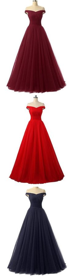 Simple A line tulle long prom gown, evening dress – trendty