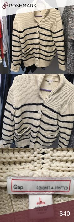 GAP Navy and Cream Nautical Stripe Cable Sweater Excellent Condition! Maybe worn once ? Large Petite Heavy Cable Knit GAP Sweater! So cozy and nautical chic! Thanks for looking! GAP Sweaters Cardigans