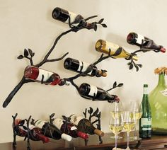 Both functional and eye-catching, the Pottery Barn Branch Wall-Mount Wine Rack ($149) creates a cool, artistic accent — and even better: the dipped angle of the wine bottles keeps the corks damp.