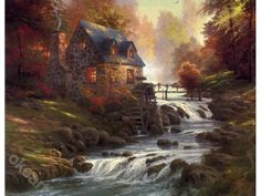 Bridges - Thomas Kinkade Cobblestone Mill Painting Limited Edition Canvas - Thomas Kinkade Online