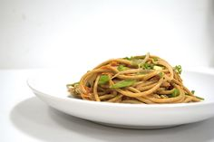 Sesame Noodles 4 oz whole wheat spaghetti / 4 C bean sprouts / 2 C thin-sliced snow peas / 2 T toasted sesame oil / 1/4 C no-salt peanut butter / see recipe...