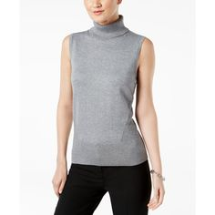 Cable & Gauge Sleeveless Turtleneck Sweater ($50) ❤ liked on Polyvore featuring tops, sweaters, heather grey, layered tops, double layer top, heather grey sweater, no sleeve sweater and polo neck sweater
