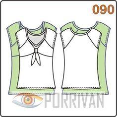 Выкройка приталенной блузки с вставкой на переде построена для кройки из эластичных материалов, трикотажа или ткани с добавлением эластана.