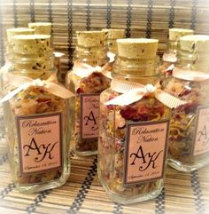 50 Party Favors ~ Pink Himalayan Bath Salt ~ Custom labels and ribbon color ~ made with dried roses, lavender, and calendula petals ~ 2 oz
