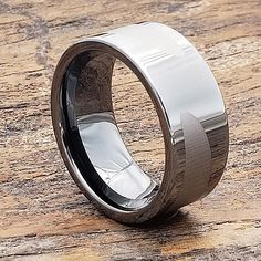 Trojan gunmetal black ice unique rings design in 10mm width. The Trojan is also available in a black 10mm width laser engraved design. Unique Ring Designs, Unique Rings, Promise Rings For Guys, Rings For Men, Wedding Band Engraving, Black Tungsten Rings, Wooden Ring Box, Tungsten Carbide Wedding Bands, Personalized Rings